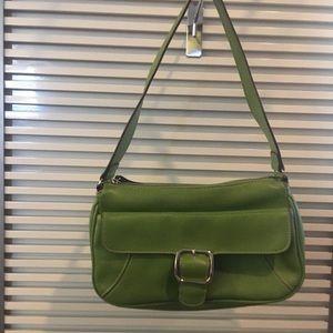 Leaf green leather purse EUC